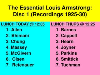 The Essential Louis Armstrong:  Disc 1 (Recordings 1925-30)