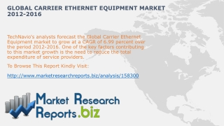 Global Carrier Ethernet Equipment Industry Analysis 2012-201