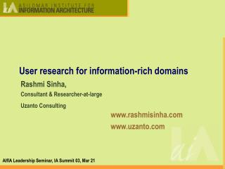 User research for information-rich domains