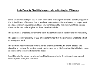 Social Security Disability lawyers help in fighting for SSD