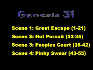 Scene 1: Great Escape 1-21 Scene 2: Hot Pursuit 22-35 Scene 3: Peoples Court 36-42 Scene 4: Pinky Swear 43-55
