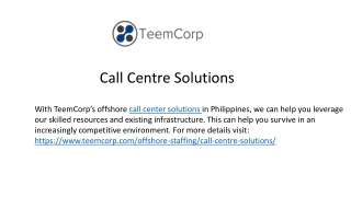 Call Centre Solutions - TeemCorp