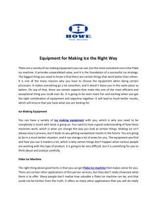 Equipment for Making Ice the Right Way