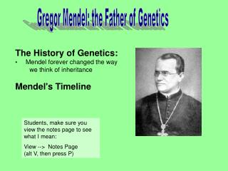 Gregor Mendel: the Father of Genetics