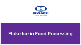 Flake Ice in Food Processing