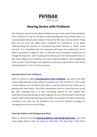 Hearing Device with Problems