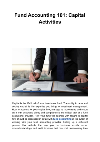 Fund Accounting 101: Capital Activities