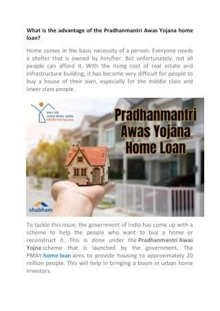 Pradhanmantri Awas Yojana home loan