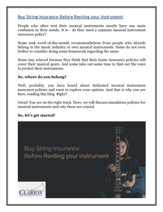 Buy String Insurance Before Renting your Instrument