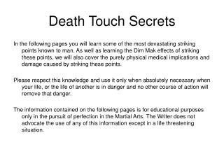 Death Touch Secrets