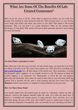 What Are Some Of The Benefits Of Lab-Created Gemstones