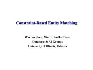 Constraint-Based Entity Matching