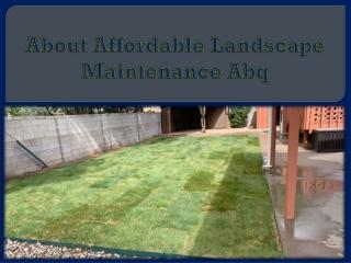 About Affordable Landscape Maintenance Abq