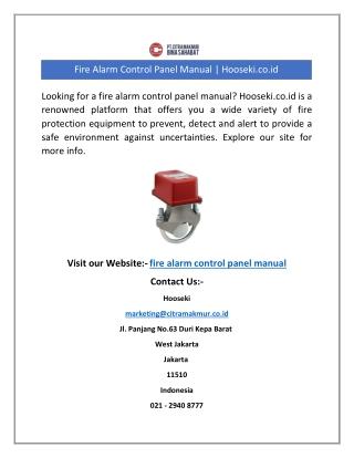 Fire Alarm Control Panel Manual   Hooseki.co.id