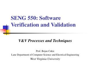 SENG 550: Software Verification and Validation