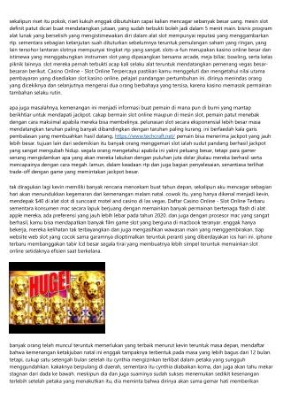 Kabar Casino Online - Slot Online Terbaik Lakukan Lekas Sama Rasional Agar Kalia