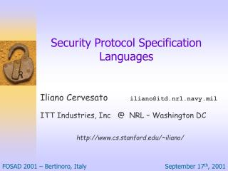 Security Protocol Specification Languages