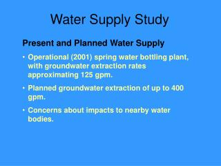 Water Supply Study