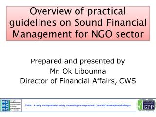 Overview of practical guidelines on Sound Financial Management for NGO sector
