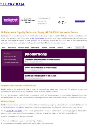 Bollybet Casino Review
