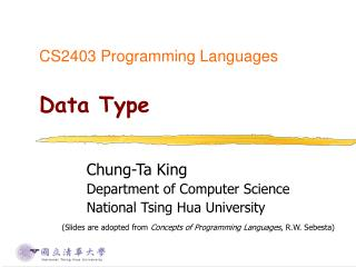 CS2403 Programming Languages Data Type