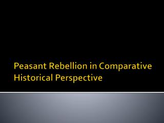Peasant Rebellion in Comparative Historical Perspective
