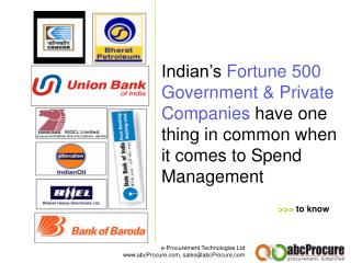 Indian's Fortune 500 Government & Private Companies have one thing in common when it comes to Spend Management
