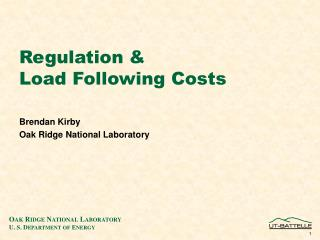 Regulation & Load Following Costs