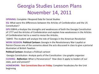Georgia Studies Lesson Plans November 14, 2011