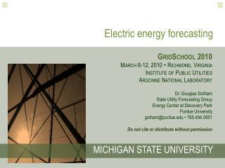 Electric energy forecasting