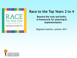 Race to the Top Years 2 to 4 Beyond the nuts and bolts: A framework for planning & implementation Regional sessions, sum