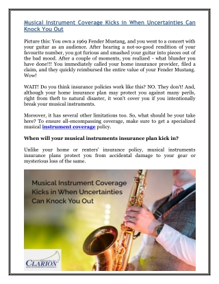 Musical Instrument Coverage Kicks in When Uncertainties Can Knock You Out