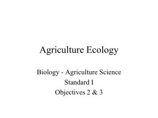 Agriculture Ecology