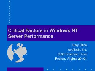 Critical Factors in Windows NT Server Performance