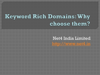 Keyword Rich Domains: Why choose them?