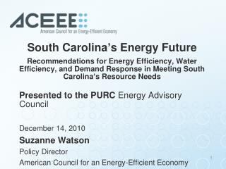 South Carolina s Energy Future  Recommendations for Energy Efficiency, Water Efficiency, and Demand Response in Meeting
