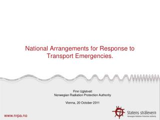 National Arrangements for Response to Transport Emergencies.