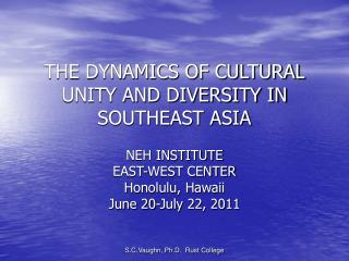 THE DYNAMICS OF CULTURAL UNITY AND DIVERSITY IN SOUTHEAST ASIA