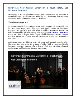 Never Let Your Musical Career Hit a Rough Patch, Get Orchestra Insurance