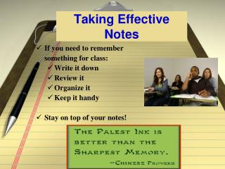 Taking Effective Notes