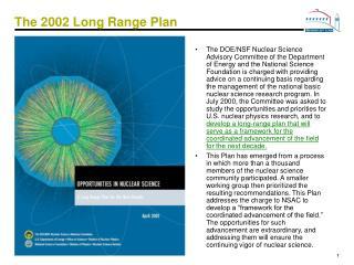 The 2002 Long Range Plan