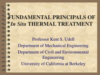 FUNDAMENTAL PRINCIPALS OF  In Situ  THERMAL TREATMENT