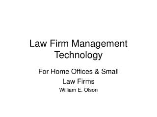 Law Firm Management Technology