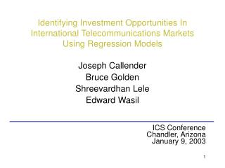 Identifying Investment Opportunities In International Telecommunications Markets Using Regression Models
