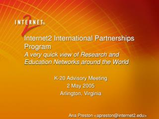 Internet2 International Partnerships Program