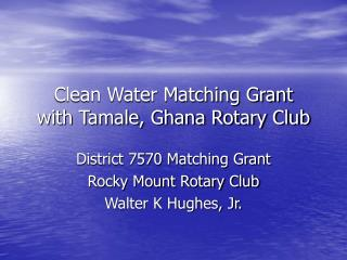 Clean Water Matching Grant