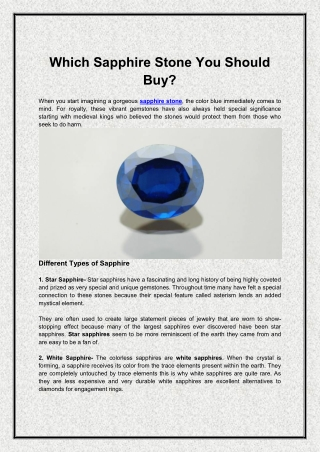 Which Sapphire Stone You Should Buy