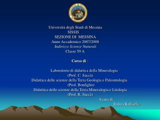 Universit  degli Studi di Messina                                                    SISSIS