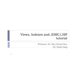 Views, Indexes and JDBC/JSP  tutorial