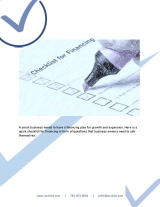 Checklist for Financing